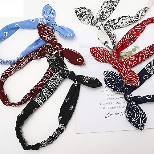 6 Stück Damen Haarband, Haarbänder, Bow Stirnbänder Boho Haarband Knoten Kopfbedeckung Retro Blume Elastische Kaninchen Ohr Haarband für Mädchen und Damen