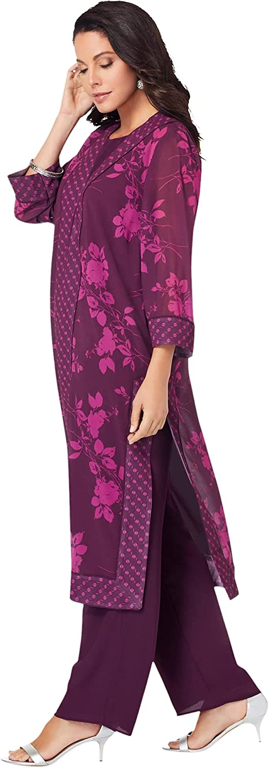Roamans Women's Plus Size Three-Piece Duster & Pant Suit Formal Sheer Duster Pull On Wide Leg