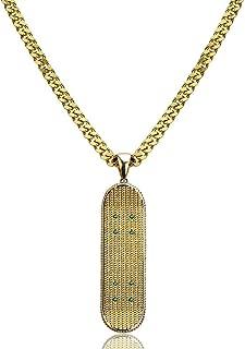 JINSHIYINYU Fashion Hip Hop Iced Out CZ 14K Gold Plated Skateboard Pendant Necklace, 24