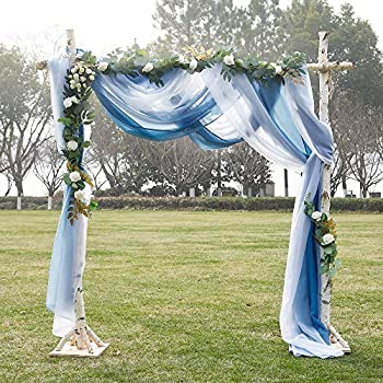 NICETOWN Navy Blue Ombre Sheer Scarf Curtains Valances Elegant Backdrop Voile Texture for Indoor Outdoor Wedding Ceremony/Party/Pergola Canopy 2 Panels W60 x L216