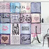Ambesonne Paris Shower Curtain, Grunge Textured Retro Collage of Paris with Famous Object Eiffel Tower Europe Theme, Cloth Fabric Bathroom Decor Set with Hooks, 75' Long, Lavender Blue
