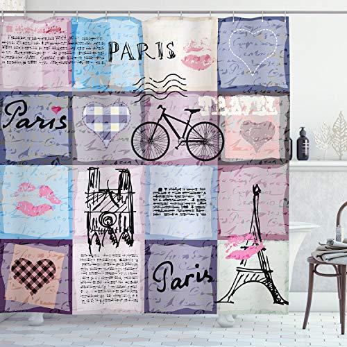 ABAKUHAUS Duschvorhang, Texturierte Retro Collage von Paris Berühmtem Gegenstand Eiffelturm Landschaft Digital Druck, Blickdicht aus Stoff mit 12 Ringen Waschbar Langhaltig Hochwertig, 175 X 200 cm