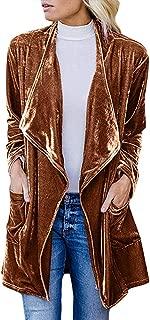 Womens Lapel Velvet Drape Jacket Open Front Cardigan Outwear with Pockets.