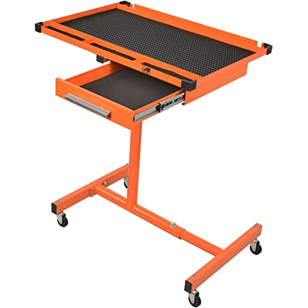 Rolling Tool Table Tear Down Tray 220lbs Adjustable Height for Holding Black