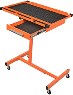 LT018 Heavy Duty Adjustable Work Table with Drawer,200 lbs Capacity Rolling Tool Tray with Wheels