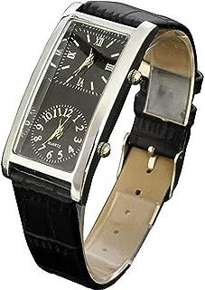 SOKI Black Dial Dual Timezone Womens Analog Quartz Leather Band Wrist Watch