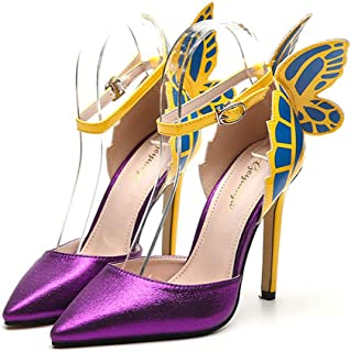 Women's Closed Pointed Toe Pumps,Butterfly Wings, Hollow and Color Matching Stiletto Leather Banquet Dress Daily Shoes, Th...