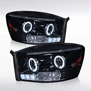 Autozensation For Dodge Ram 1500/2500/3500 Glossy Black LED Halo Projector Headlights Pair