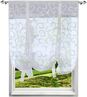 86 York Cute Bowknot Tie-Up Roman Curtain Sheer Kitchen Balloon Window Curtain,31 x 55 Inch 1 Panel