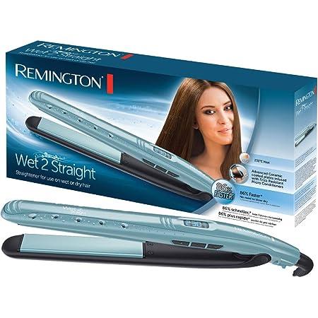 Remington Wet 2 Straight Plancha de Pelo – Cerámica Avanzada, Cabello Seco y Húmedo, Digital, 10 Ajustes Temperatura, Azul - S7300