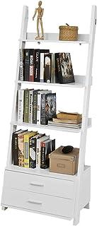 SoBuy Estanteriá en Escalera,Librería, 4 áreas y Dos cajones de Almacenamiento,FRG230-W,ES