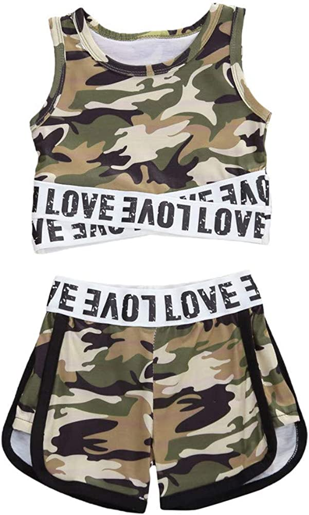Toddler Baby Girl Solid/Camouflage Outfits Kids Sleeveless Sport Crop Tops Vest Shorts Pants Sunsuit Tracksuit Clothes