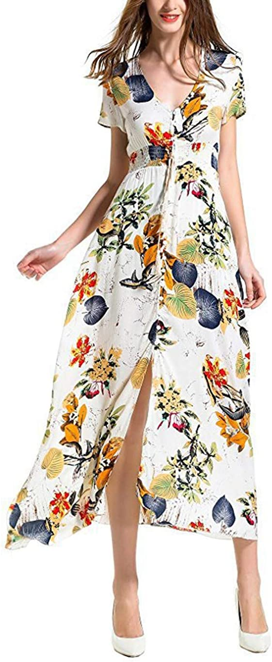 New sales Women's V-Neck Maxi Dress Floral Short Sleeve Dres Print New Shipping Free Shipping Button