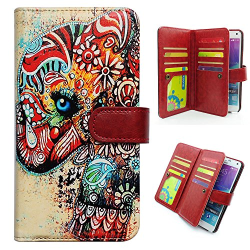 Bfun Packing Tribal Floral Elephant Purse Leather Wallet Case Cover with 9 Card Slots and Money Pocket for Samsung Galaxy Note 4
