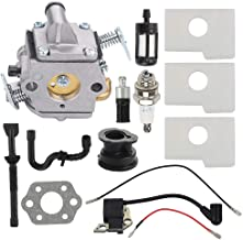 Trustsheer MS170 MS180 Carburetor w Tune Up Kit Air Fuel Filter Ignition Coil for Stihl 017 018 MS180C MS170C MS 170 MS 180 Chainsaw Carb Replace ZAMA C1Q-S57 1130-120-0603
