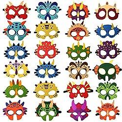 6. DANGSHAN Kid's Dinosaur Party Masks (24pcs)