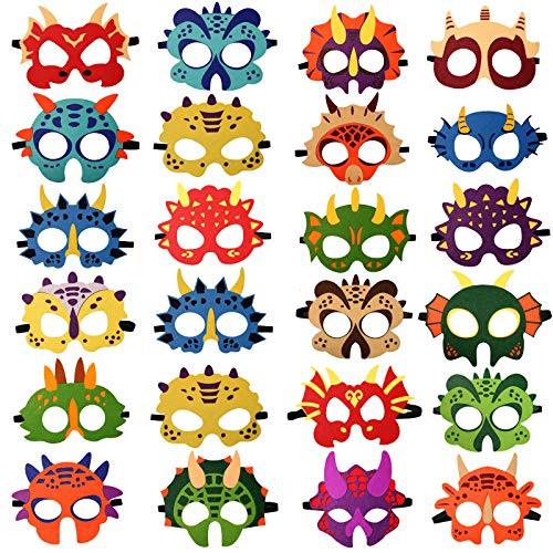 24 Packs Dinosaur Masks Party Supplies Felt and Elastic for Kid Dinosaur Masks Dress-Up Party Favors 24 Masks for Birthday Gifts Party Decorations