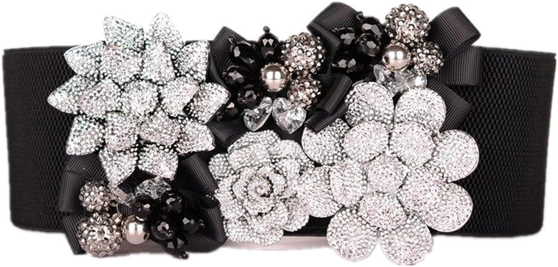 Canvas Belt Women's Belt Crystal Flower Lady Belt Decoration Body Building Wide Skirt Fluorescent Waist Belt
