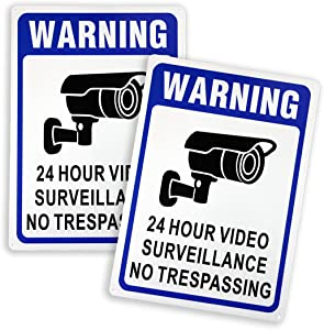 Clotide 2-Pack 24 Hour Video Surveillance Sign, No Trespassing Warning Sign, 14