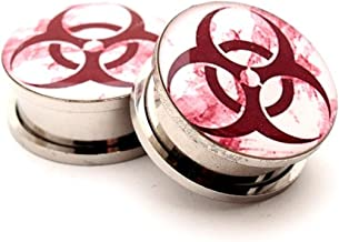 Mystic Metals Body Jewelry Screw on Plugs - Biohazard Style 2 Picture Plugs - Sold As a Pair