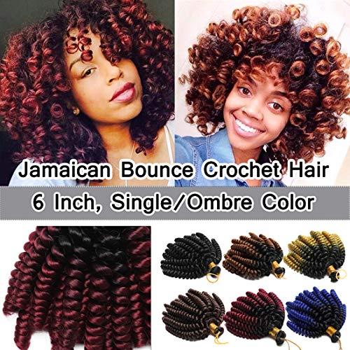 SEGO 6 Inch Jamaican Bounce Crochet Hair Jumpy Wand Curl 3 Bundle Short Curly Jamaican Crochet Braids Synthetic Crochet Braiding Hair Extensions Ombre Twist Braid Hair Black to Dark Red