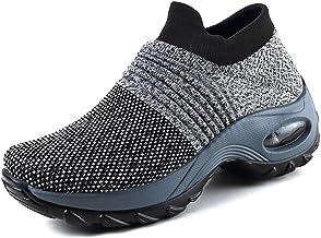 Metyere Chaussures de marche pour femme en maille respirante confortables à plateforme compensée, polyuréthane