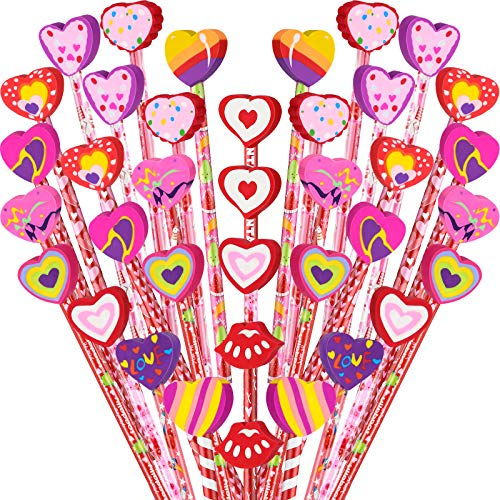 40 Pieces Valentines Pencils Assortment with Giant Heart Shaped Eraser Topper, Colorful Love Hearts Animals Fruits Alphabet Wooden Pencil for School Classroom Incentives Party Favor Supplies