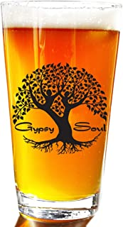 Gypsy Soul Tree Beer Pint Glass Set - Novelty Beer Pint Glass Set - Large 16 oz Beer Glasses Perfect Present Gift For Men Or Women Large Beer Pints Glasses For Outdoors- Great Christmas Mugs Gifts Set