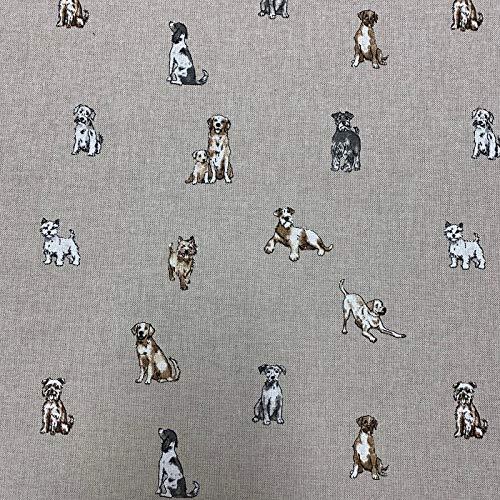 Shabby Tiere Hunde Design Baumwolle Aussehen hochwertigen Leinens Stoff für Vorhänge Jalousien Handarbeit absteppen Patchwork & Polsterung ca. 139,7cm (55') - verkauft pro Meter
