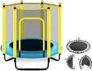 BIAOYU Studsmatta för barn inomhus och utomhus små fritidsstudsmattor med basketkorg och nätsäkerhetsfodral för småbarn