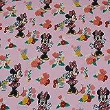Disney Jersey Minnie Maus, Blumen, rosa (50cm x 150cm)