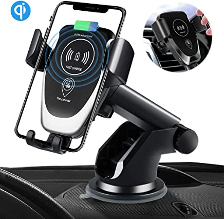 SANCEON Qi Wireless Car Charger Mount,10W Fast Charging Car Phone Holder Air Vent Dashboard Compatible with iPhone Xs/Xs Max/XR/X/ 8/8 Plus, Samsung Galaxy S10 /S10+/S9 /S9+/S8 /S8+