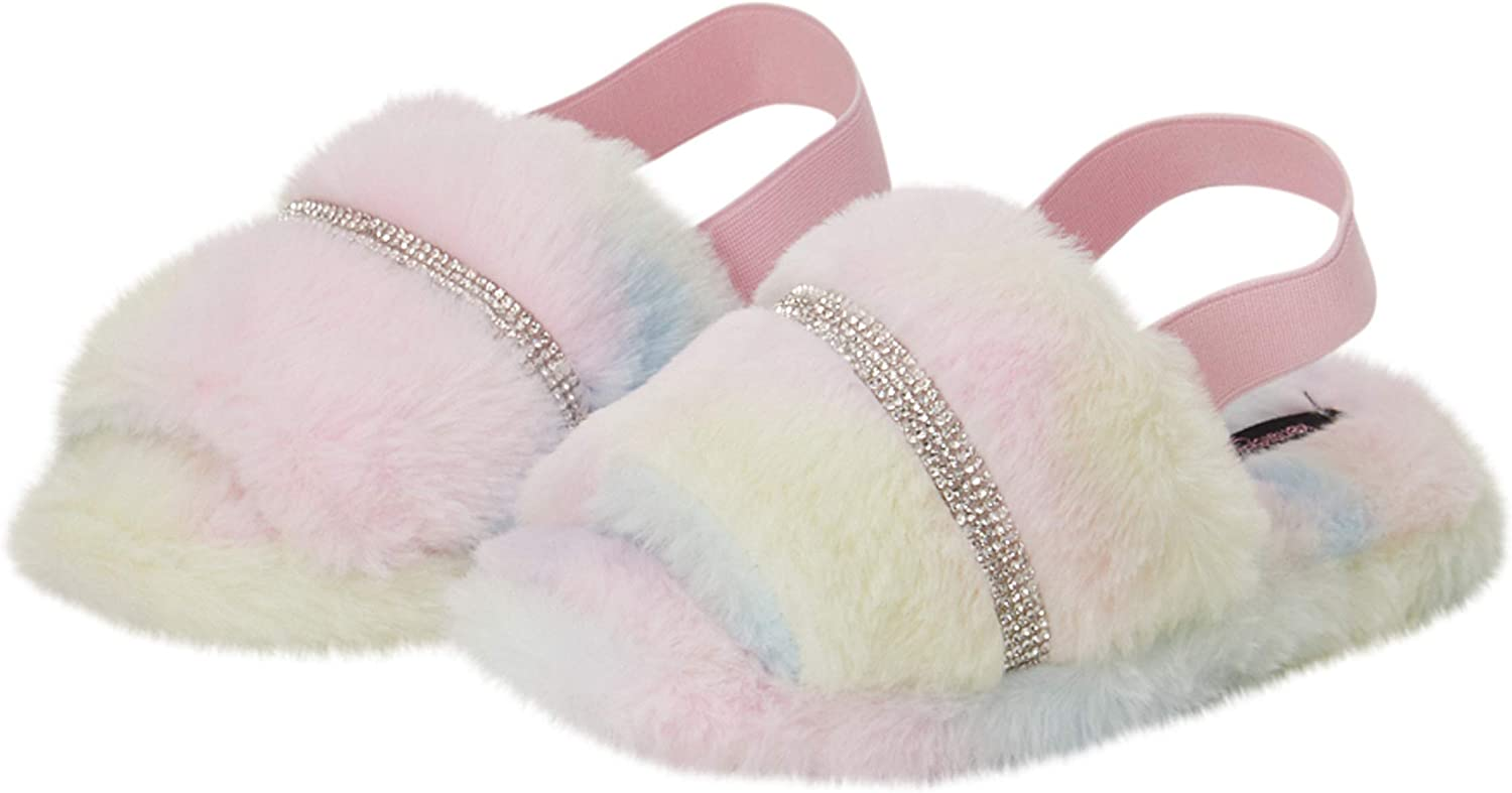 Kensie Girl Girls' Slippers Large discharge sale - Sli Special price Studded Plush Fuzzy Rhinestone