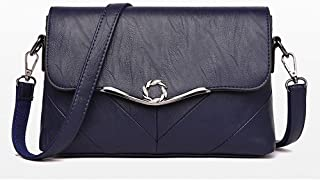 Fashion Women's Bags PU(Polyurethane) Crossbody Bag Buttons Solid Color Red/Gray/Purple (Color : Blue)