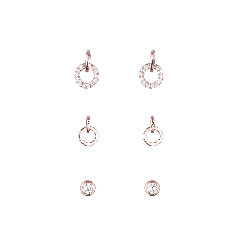Double Small Hoop Rhinestone 925 Silver 14K Gold Ear Stud Set Unique Rosegold Women Bridal Valentine's Day Earrings