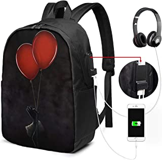 Stephen King's It School Backpack with USB Charging Port for Women Men, College Student Rucksack Fits 17 Inch Laptop