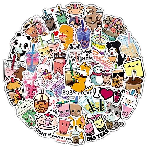 FENGLING Etiquetas engomadas de animales de dibujos animados de leche para ordenador portátil, guitarra, equipaje, nevera, impermeable graffiti calcomanía Kid Classic Toys 50 unids