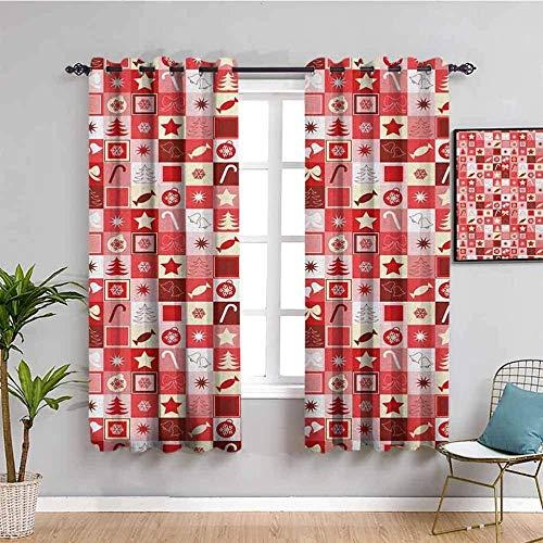 JNWVU Opacas Cortinas Dormitorio - Rojo Cuadros Navidad Lindo - Impresión 3D Aislantes de Frío y Calor 90% Opacas Cortinas - 234 x 137 cm - Salon Cocina Habitacion Niño Moderna Decorativa