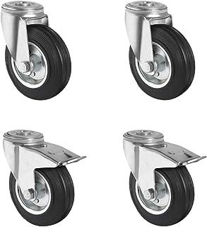 CASCOO SETHPBP160SWS4R0N wielenset 2 ruggatwielen, 2 met borstels, stalen velg, massief rubber, diameter 160 mm, transport...