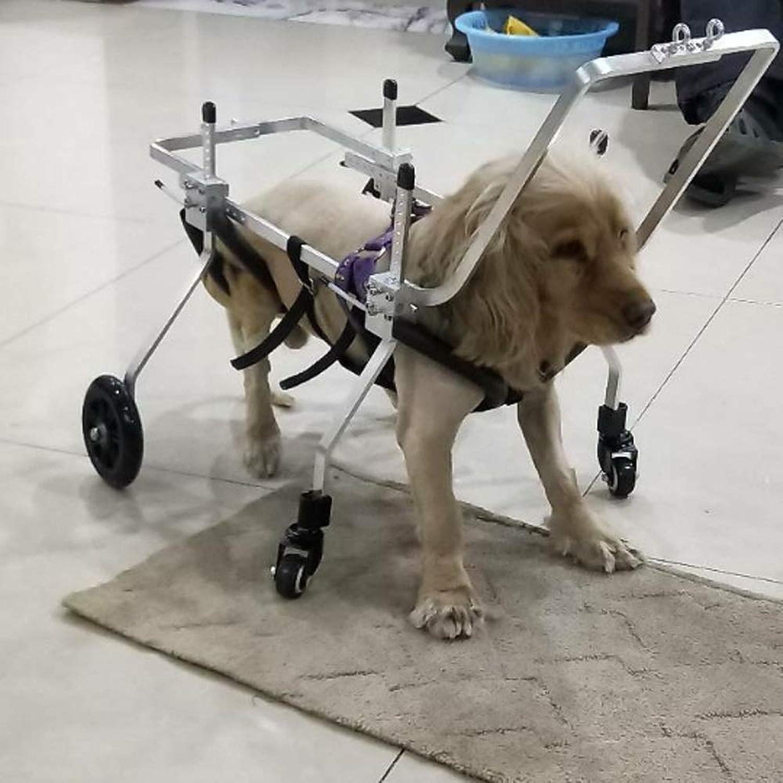 Dog Wheelchair Best Friend—Dog Wheelchair Adjustable 4Wheel Stainless Steel Cart Pet Cat Dog Wheelchair Hind Leg Rehabilitation for Handicapped Dog Hind Legs Rehabilitation (Size   XXS)