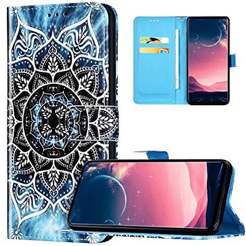 JAWSEU Coque Galaxy S20 Portefeuille PU Cuir Étui pour Galaxy S20,Rétro Motif Livre à Rabat Coque Housse Protection Magnétique avec Support Wallet Flip Case Cover,Mandala