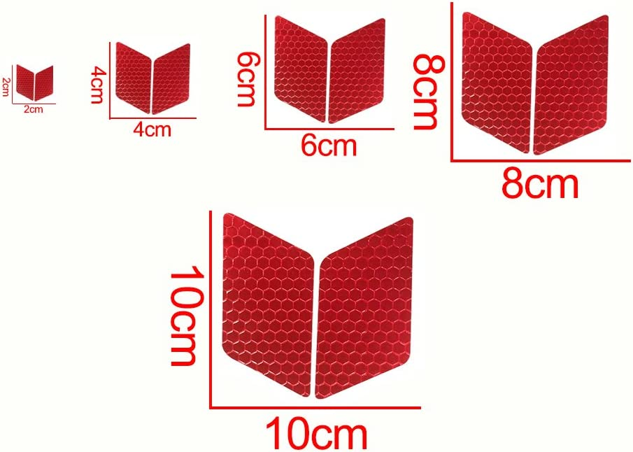 Longzhimei Reflective Stickers Safety Warning Tape Reflective Tape Self-Adhesive for Helmets Bicycles Strollers Wheelchairs and More Pack of 25 Red