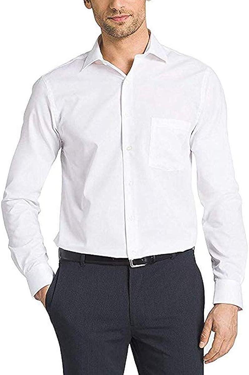 Kirkland Signature Men's 100% Cotton Non-Iron Traditional Fit Spread Collar Long Sleeve Dress Shirt, White