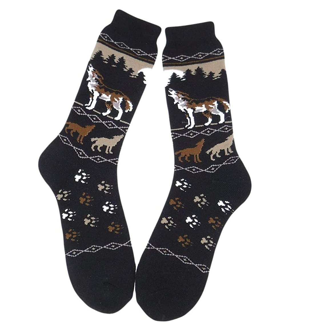 Ace USA Howling Wolf in the Woods Men's Towel Socks One Size Fits Most
