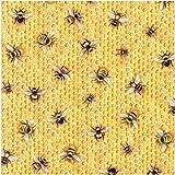 Hellgelber Stoff mit Bienen und Honigwaben von Robert