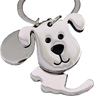キーホルダー キーリング 犬 いぬ メタル シルバー しっぽ が 揺れる チャーム バッグ の チャーム に