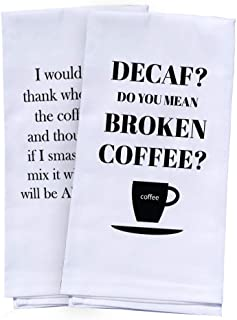Coffee Gifts - 2 Funny Kitchen Towels - Cute Towels Set Kitchen or Bath   Funny Dish Towels   White Hand Towels for Housewarming Gift Christmas Gift Birthday Gift Man or Woman