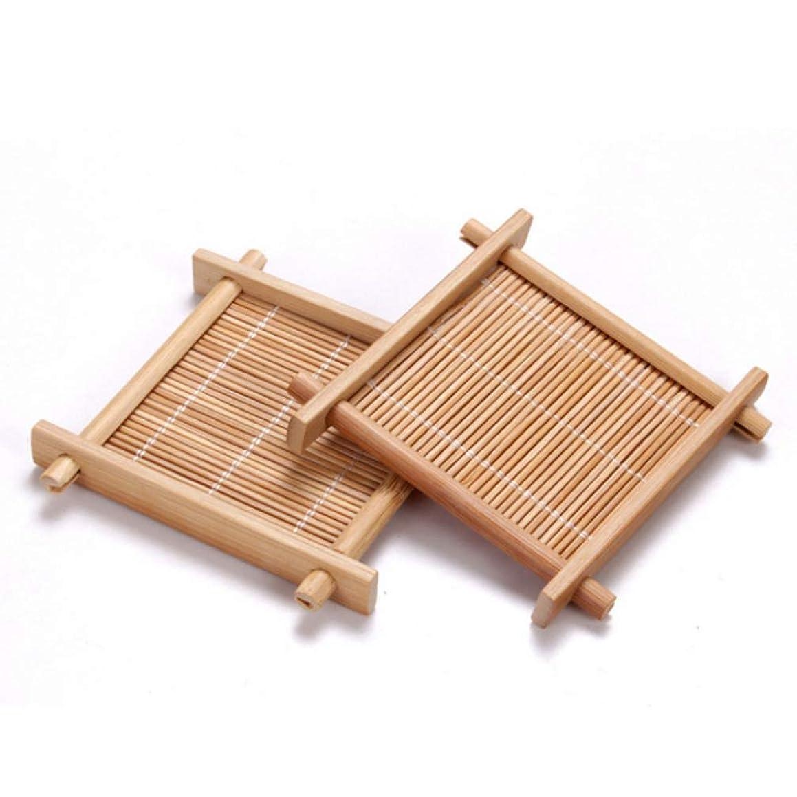 RXIN 6pcs/lot Bamboo Coasters Teacup Saucers Sets Square Handmade Tea Cup Mat for Kung Fu Tea