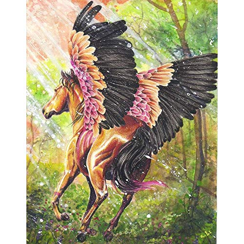 ZXX5D Diamond Painting Horses Kits for Adults Horse Diamond Art Kits 5D Diamond Painting Kits Full Drill Large Round Diamond Cross Stitch Embroidery Mosaic Craft Kits 50X60Cm(Md26868)