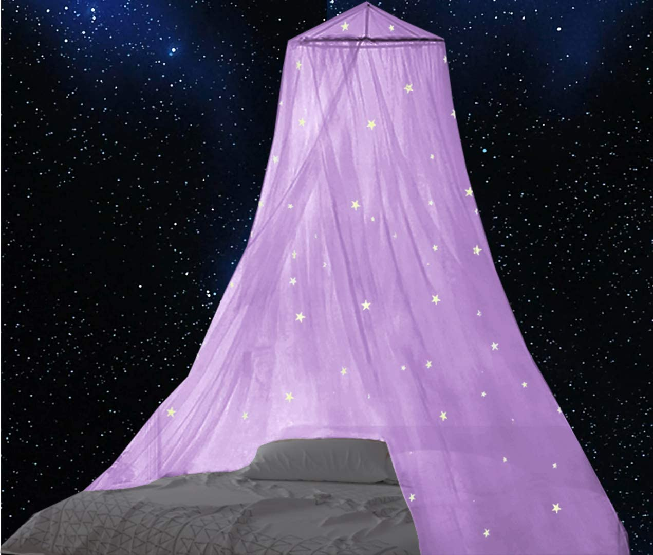 BCBYou Bed Canopy Mosquito Net with Fluorescent Stars Glow in Dark for Baby, Kids, and Adults, for Cover The Baby Crib, Kid Bed, Girls Bed Or Full Size Bed (Purple)